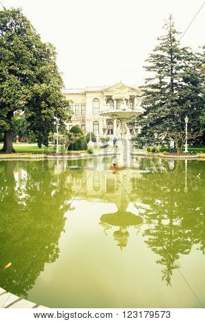 The reflection in the pond, Dolmabahce Palace, Istanbul, Turkey