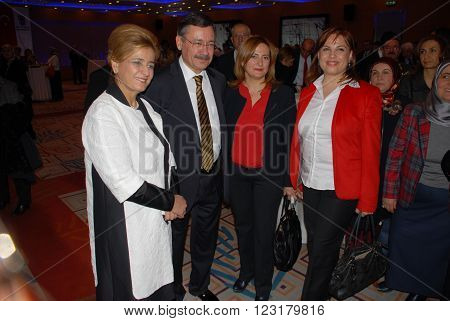 ANKARA/TURKEY-DECEMBER 27, 2013: Turkish politician and Mayor of Ankara Ibrahim Melih Gokcek (2nd left) at the Sheraton Hotel during the official ceremony of Capital City Ankara. December 27, 2013-Ankara/Turkey