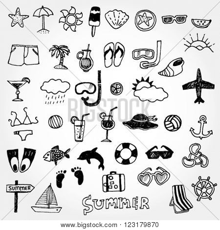 Doodled Summer Icons