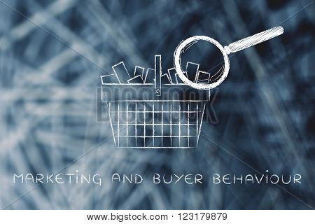magnifying glass analyzing shopping basket full of items, marketing and buyer behaviour