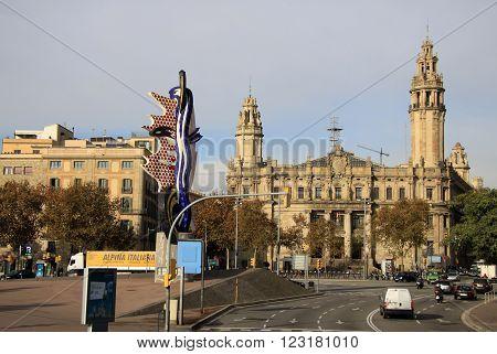 Barcelona, Catalonia, Spain - December 12, 2011: Central Post Office Building In Barcelona, Cataloni