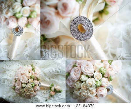 The bride's bouquet from the beautiful cream-colored roses