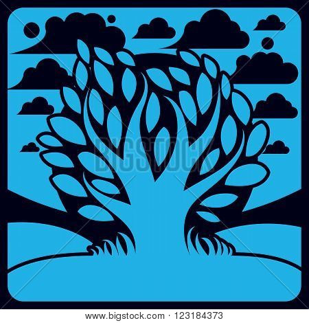 Art Vector Graphic Illustration Of Stylized Branchy Tree And Peaceful Landscape With Clouds, Country