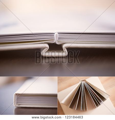 Collage: cream leatherette photo book, pages are deployed
