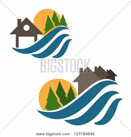 Set Of Illustrations House And Waves Icons.vector