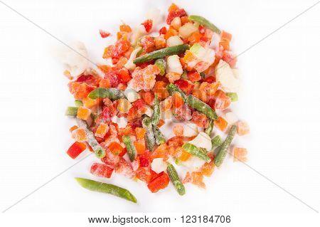 many frozen vegetables on white background in studio