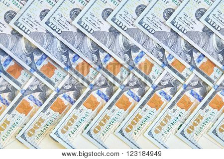 Many American One Hundred Dollar Bills. Money cash background