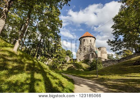 Ruins of medieval Cesis Castle, Latvia.