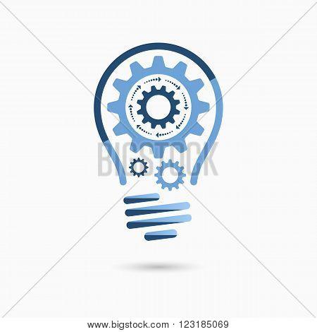 Light bulb idea icon with gears inside. Light bulb sign, light bulb symbol. Business idea concept.