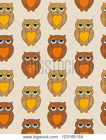 Seamless Vector Pattern with Sleepy Brown Owl ion a Beige Background