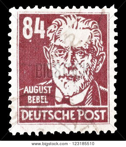 GERMANY - CIRCA 1948: Cancelled postage stamp printed by Germany, that shows August Bebel.