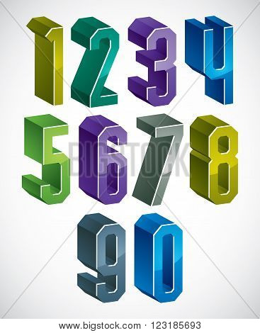 3D Geometric Numbers Set In Blue And Green Colors.