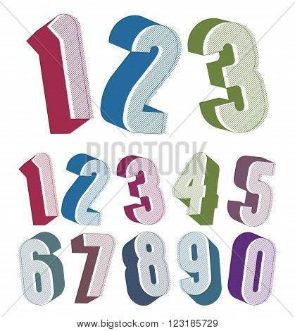 3D Numbers Set Made With Round Shapes.