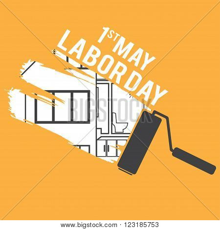 Illustration For Labour Day With Paint Roller.vector