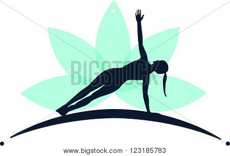 Logo Vector Yoga in Paddle and Green Lotus Flower  with white background