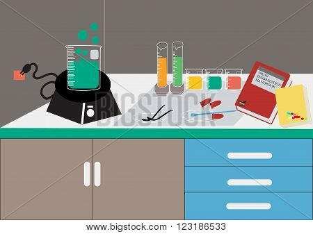 Science lab Vector .Chemical Laboratory chemical glassware. vector illustrationflat design