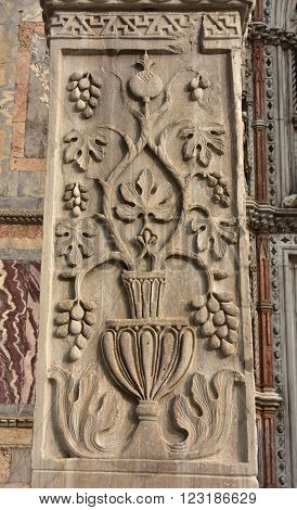 Detail from Pillars of Acre in Saint Mark Square. Ancient marble pillar with sasanid (persian) motif from St Polyeuktos byzantine church in Constantinople and brought to Venice after the 4th Crusade (1204)
