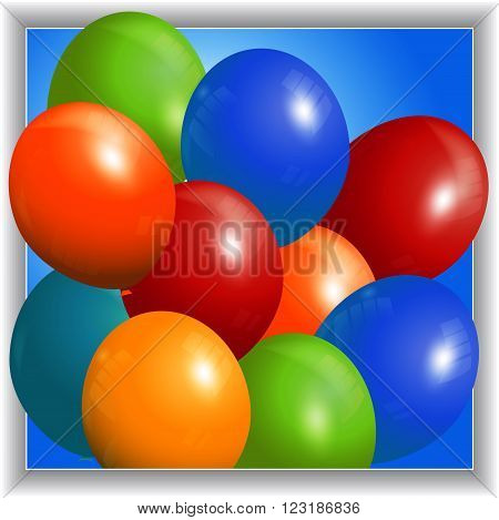Colorful 3D Balloons Over Blue Panel with White Frame