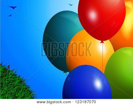 Spring Landscape Background with 3D Balloons Green Grass and Birds Over Blue Sky