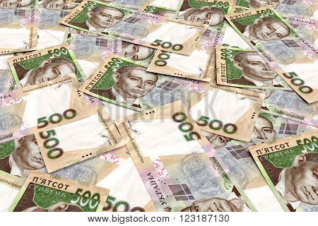 Background from ukrainian money hryvnia. 500 denomination. 3d render