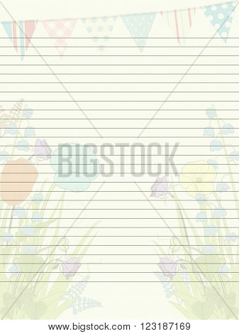 Paper Sheet with Spring Flowers Bunting and Lines