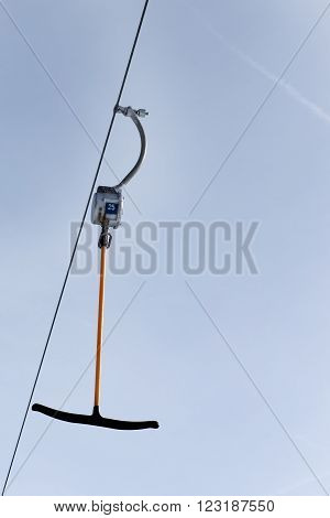Ski-tow isolated against a blue sky in the Zillertal Arena, Austria