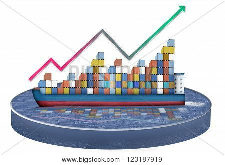 A containership with containers loaded that are growing like a graph.