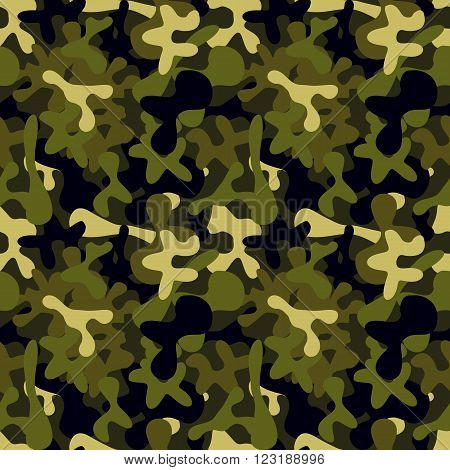 Military camouflage to disguise in the forest seamless pattern