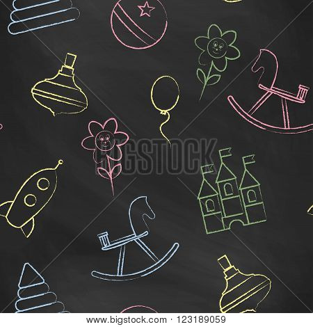 Seamless pattern black chalk board with color children's chalk drawings. Hand-drawn style. Seamless vector wallpaper with the image of balloon, flower, horse, pyramid, rocket, ball, whirligig