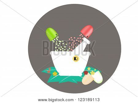 Capsule granule green with white mortar ,vector,illustration,picture