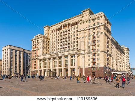 Moscow Russia - March 23 2016: Four Seasons Hotel Moscow at the Manege square.