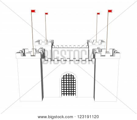 Vector clean castle on white background. Close door 2