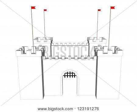 Vector clean castle on white background. Open  door 1