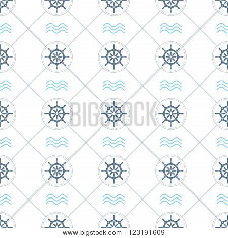 Ship helms vector seamless pattern. Helms, waves, circles and rhombs seamless texture. EPS8 vector illustration.