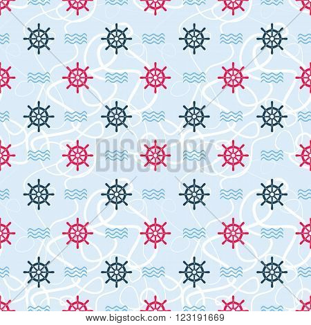 Ship helms vector seamless pattern. Helms, waves and tangled lines seamless texture. EPS8 vector illustration.