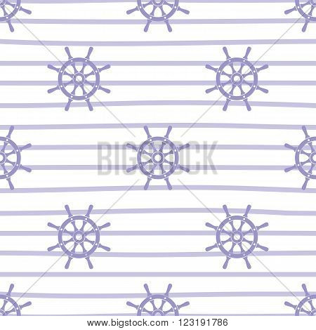 Ship helms vector seamless pattern. Helms and horizontal lines seamless texture. EPS8 vector illustration.