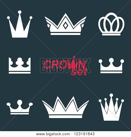 Business Conceptual Icons, Can Be Used In Graphic And Web Design. Set Of Vector Vintage Crowns, Luxu