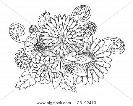 Flowers decor ornament coloring book for adults vector illustration. Anti-stress coloring for adult. Zentangle style. Black and white lines. Lace pattern