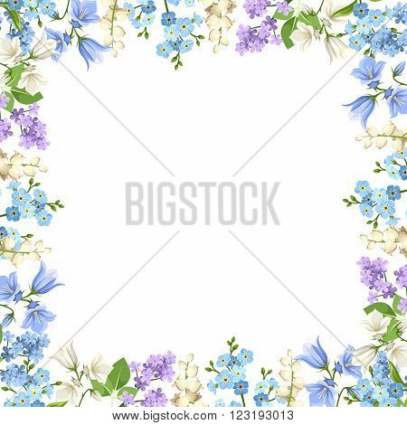 Vector background with various blue, purple and white flowers and green leaves.