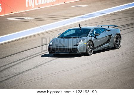 Sochi Russia - May 11 2015: Training races of Lamborghini on the autodrom.