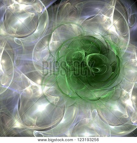 A plasma cloud forms a green rose