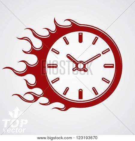 Time Runs Fast Conceptual Business Icon, Vector Clock With Burning Fire Eps 8 High Quality Illustrat