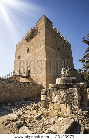 The medieval castle of Kolossi. It is situated in the south of Cyprus in Limassol.