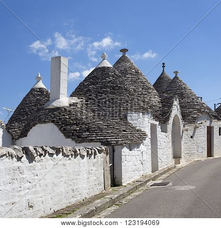 Alberobello ITALY - April 20.2015.Unique Trulli houses with conical roofs in Alberobello Italy P