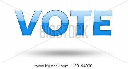 Word VOTE with blue letters and shadow. Illustration, isolated on white