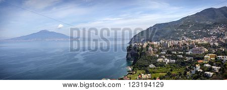 Picturesque morning view of Sorrento city and Gulf of Naples Campania province Italy