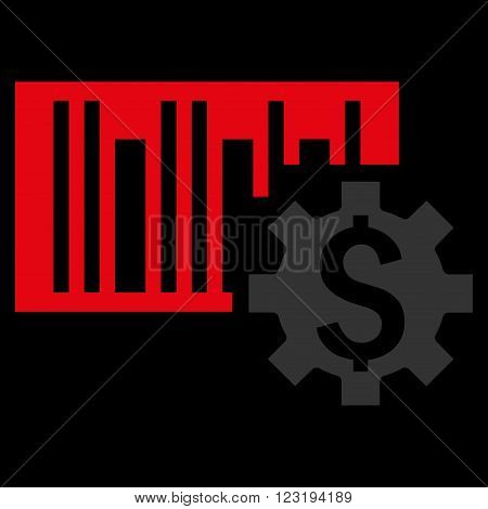 Barcode Price Setup vector icon. Style is flat symbol, red color, black background.