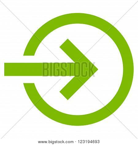 Import vector icon. Style is flat icon symbol, eco green color, white background.