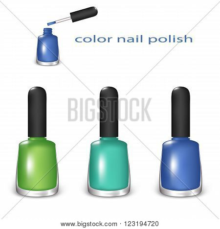 Set of Color Nail Polish. Green, Turquoise and Blue Colors on a White Background. Mesh Gradient and Transparency was Used. EPS-10.