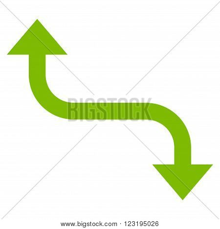 Opposite Bend Arrow vector icon. Style is flat icon symbol, eco green color, white background.